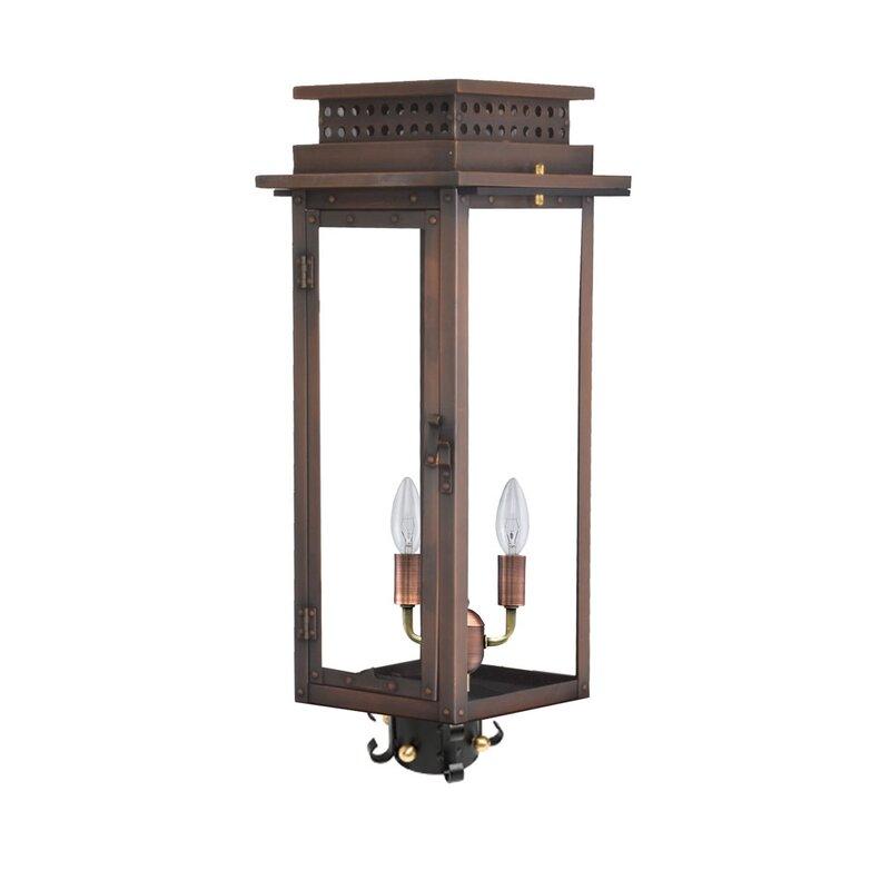 Longshore Tides Booneville Aged Copper Black Hardwired Lantern Head Wayfair