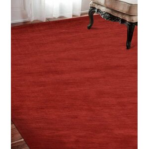 Delano Solid Hand-Woven Wool Red Area Rug