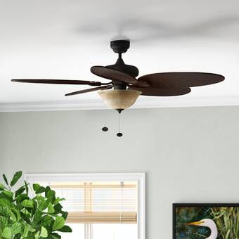 Bayou Breeze 52 Kalista 5 Blade Leaf Blade Ceiling Fan With Pull Chain And Light Kit Included Reviews Wayfair