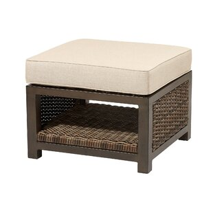 Bedard Outdoor Teak Ottoman with Sunbrella Cushion