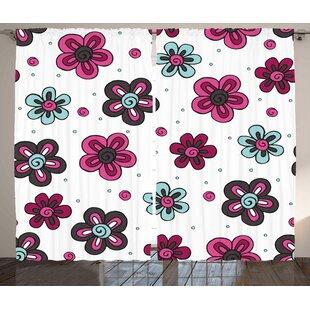 Florets Buds Room Darkening Rod Pocket Curtain Panels (Set of 2) by East Urban Home