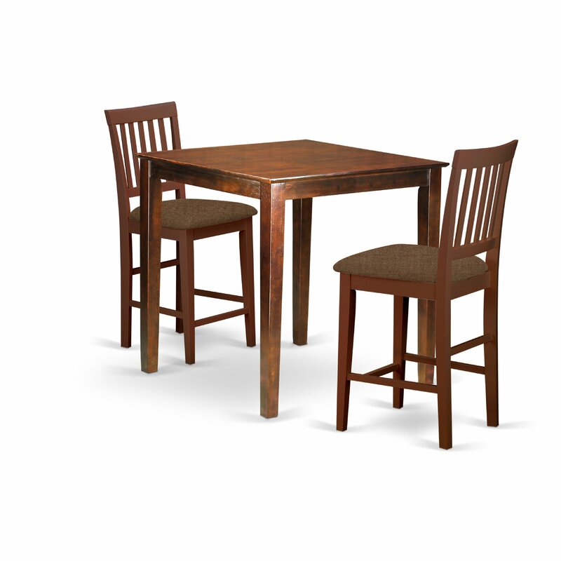 Andover Mills Tybalt 3 Piece Counter Height Solid Wood Dining Set Reviews Wayfair Ca