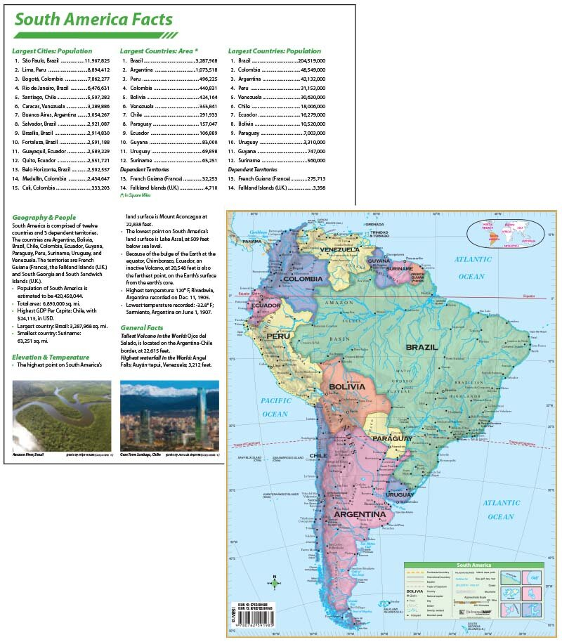 Laminated South America Continent Map 11