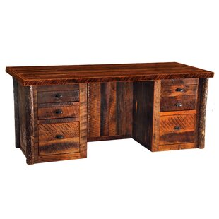 Reclaimed Barnwood 6 Drawer Executive Desk by Fireside Lodge