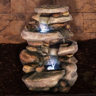 Resin Waterfall Fountain With LED Light. By Pure Garden