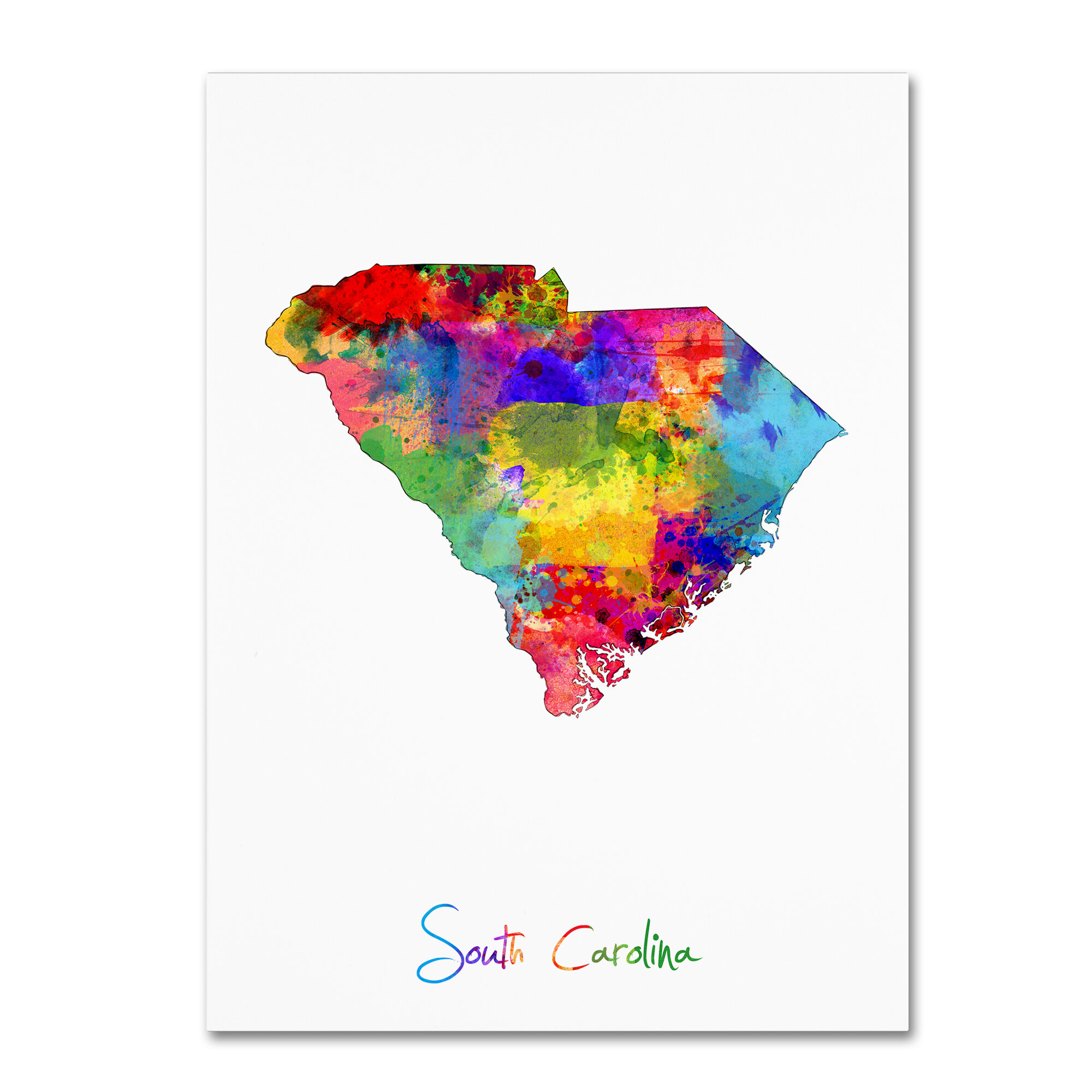 graphic relating to Printable Map of South Carolina titled South Carolina Map Image Artwork Print upon Wrapped Canvas