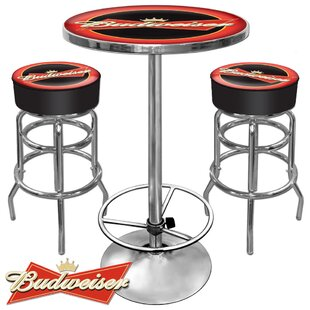 Ultimate Budweiser Game Room 3 Piece Pub Table Set Best Design