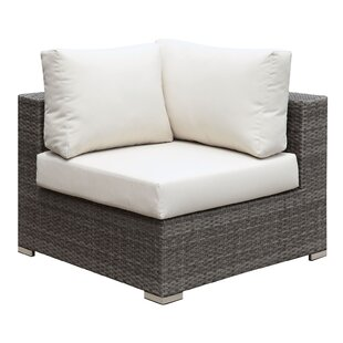 Jarratt Faux Rattan Corner Patio Chair with Cushions