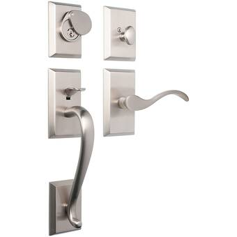 Nostalgic Warehouse F Grip Handleset With Single Cylinder Deadbolt And Swan Door Lever And Rope Rosette