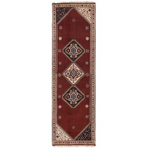 Liara Hand-Knotted Wool Dark Red Area Rug