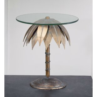 Small Palm Tree Pedestal End Table