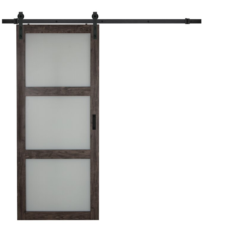 Continental Glass Barn Door with Installation Hardware Kit