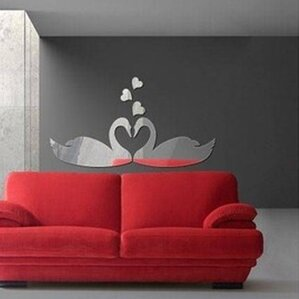 DIY Romantic Swan Kiss Mirror Wall Sticker