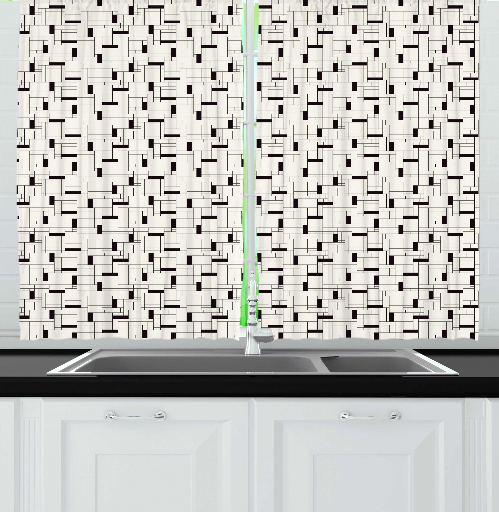 Image of: East Urban Home Geometric Modern Grid With Rectangular Shapes Contemporary Repetition Kitchen Curtain Wayfair