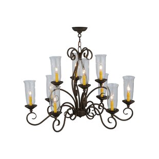 Meyda Tiffany Greenbriar Oak Wallis 10-Light Shaded Chandelier