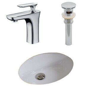 Great Price Ceramic Oval Undermount Bathroom Sink with Faucet and Overflow By American Imaginations