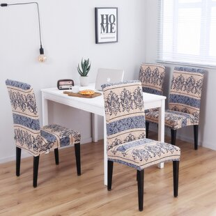 Pattern Soft Elegant Spandex Fabric Stretch Box Cushion Dining Chair Slipcover (Set of 4)