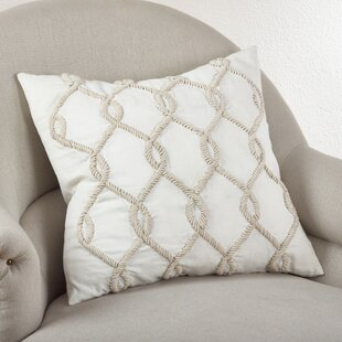 Embroidered Cord Cotton Throw Pillow