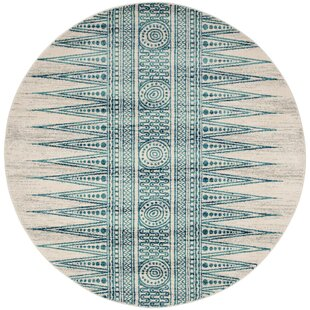 Elson Turquoise/Ivory/Navy Blue Area Rug by Mistana