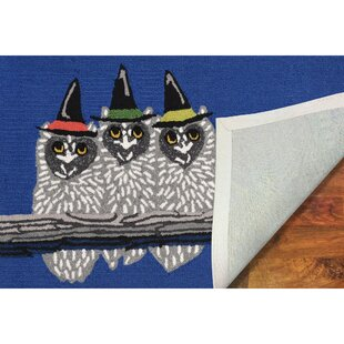 Owl-o-ween Hand-Tufted Blue Indoor/Outdoor Area Rug
