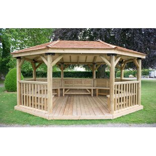 5.3m X 3.8m Wooden Gazebo With Cedar Roof And Benches By Sol 72 Outdoor