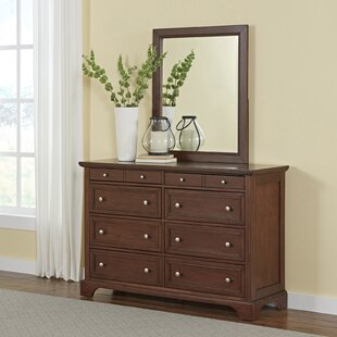 Three Posts Borden 8 Drawer Double Dresser with Mirror Image