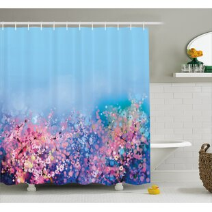 Soto Retro Cherry Blossom Petal Perennial Herb Botanic Habitat Print Single Shower Curtain
