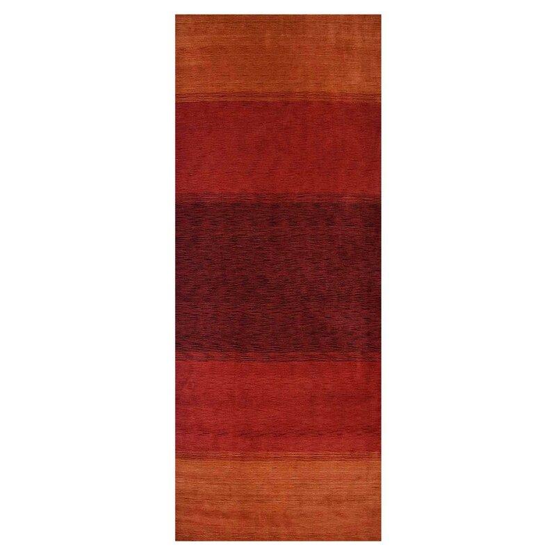 Ebern Designs Runner Akimos Striped Hand Knotted Orange Area Rug