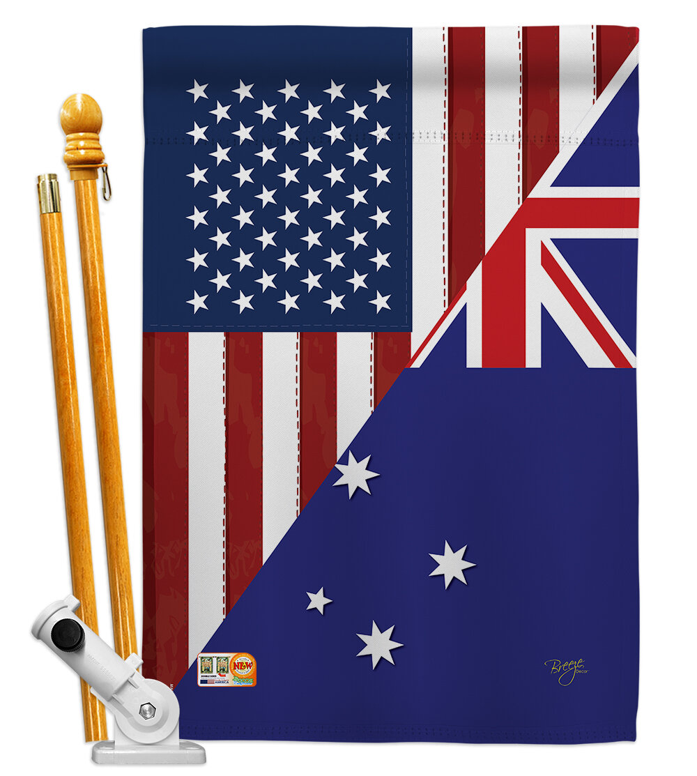 Breeze Decor American Ustralia Friendship The World Impressions 2 Sided Polyester 40 X 28 In Flag Set Wayfair