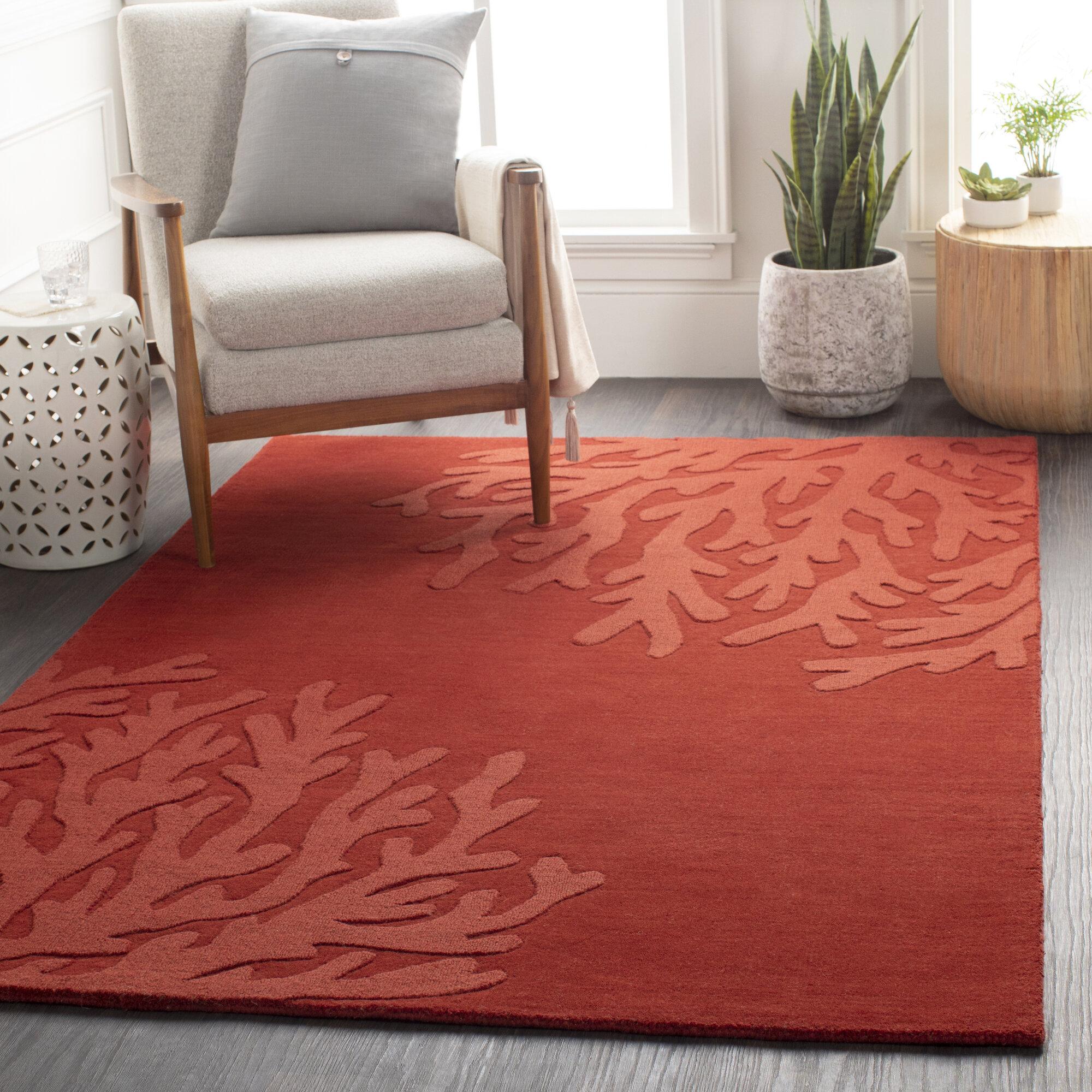 Breakwater Bay Pierre Floral Handmade Wool Dark Red Area Rug Wayfair
