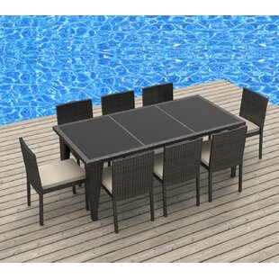 Urban Furnishings 9 Piece Dining Set with Cushions