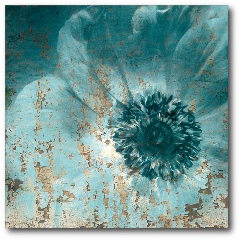 Ebern Designs Teal Flower Wrapped Canvas Graphic Art Print On Canvas Reviews Wayfair