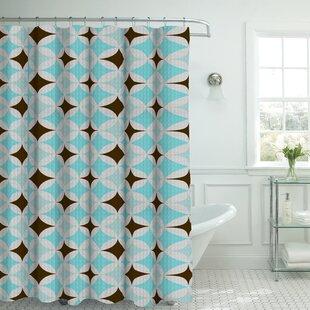 Oxford Fabric Weave Textured Geometric Shower Curtain Set by Bath Studio