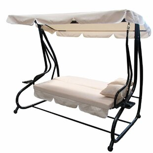 Laseter Canopy Patio Porch Swing with Pillows and Cup Holders