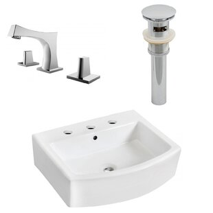 Reviews Ceramic Rectangular Bathroom Sink with Faucet and Overflow ByAmerican Imaginations