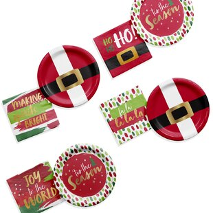 Christmas Cocktail 96 Piece Paper Party Supplies Kit