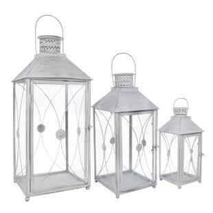 3 Piece Lantern Set In Antique White By World Menagerie