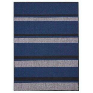 San Diego CK730 Striped Hand-woven Flatweave Cobalt Blue/Black Area Rug ByCalvin Klein