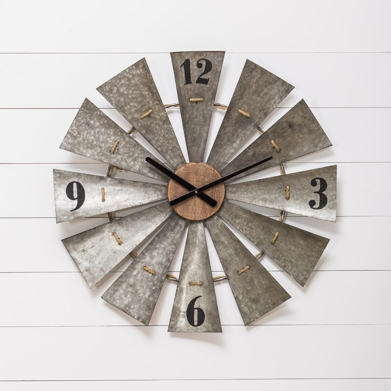 Gracie Oaks Le Oversized Vintage Windmill 28 5 Quot Wall Clock