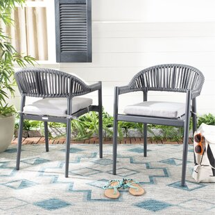Lo?c Rope Stacking Patio Dining Chair with Cushion (Set of 2) by Bungalow Rose