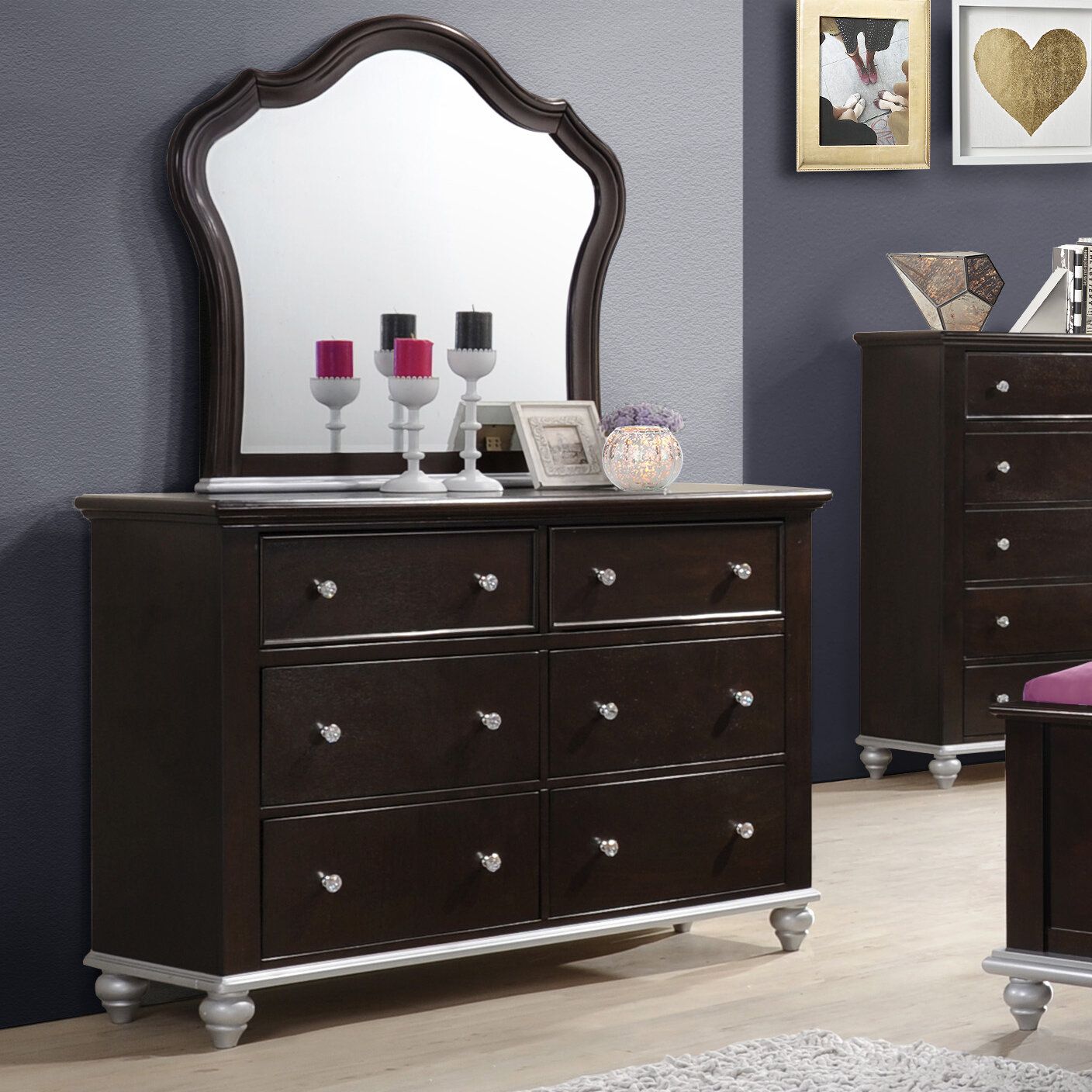 House Of Hampton Johnny 6 Drawer Double Dresser With Mirror