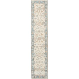 One-of-a-Kind Hales Hand-Knotted Runner 2'5 x 23'6 Wool Cream Area Rug by World Menagerie