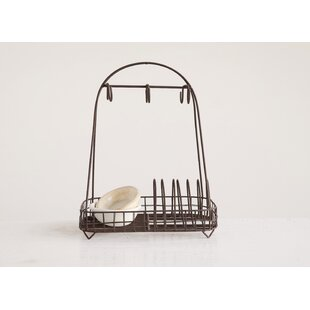 Gracie Oaks Mong Rust Metal Plate Rack with 6 Hooks Kitchenware Divider