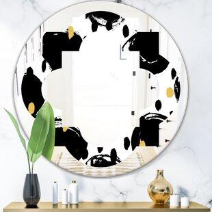 Monochrome Geometric Pattern V Quatrefoil Eclectic Frameless Wall Mirror by East Urban Home