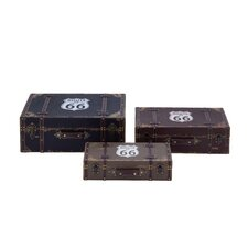 3 Piece Route 66 Wooden Box Trunk Set by ABC Home Collection