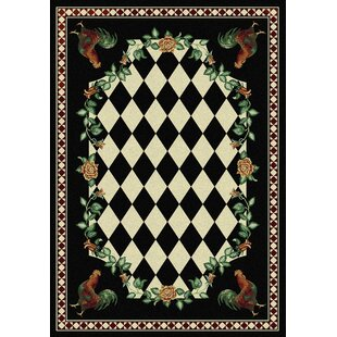 Best Price Novelty High Country Rooster Black Area Rug By American Dakota