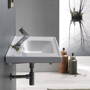 CeraStyle by Nameeks Frame Ceramic Rectangular Drop-In Bathroom Sink with Overflow