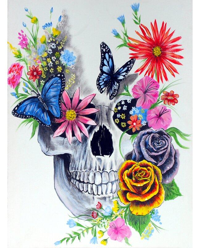 Ebern Designs Sugar Skull Painting Print On Wrapped Canvas Reviews Wayfair