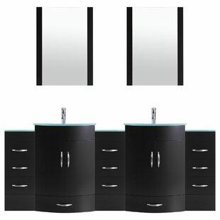 Peterman Modern 108 Double Bathroom Vanity Set with Mirror by Orren Ellis