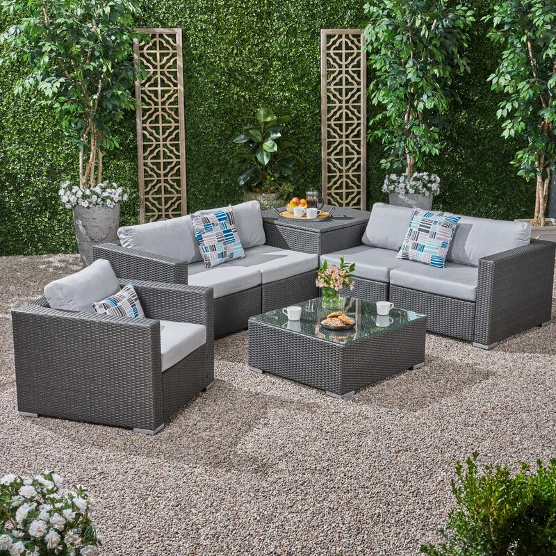 Brayden Studio Roxann Outdoor 5 Seater Wicker Sectional Sofa Set ...